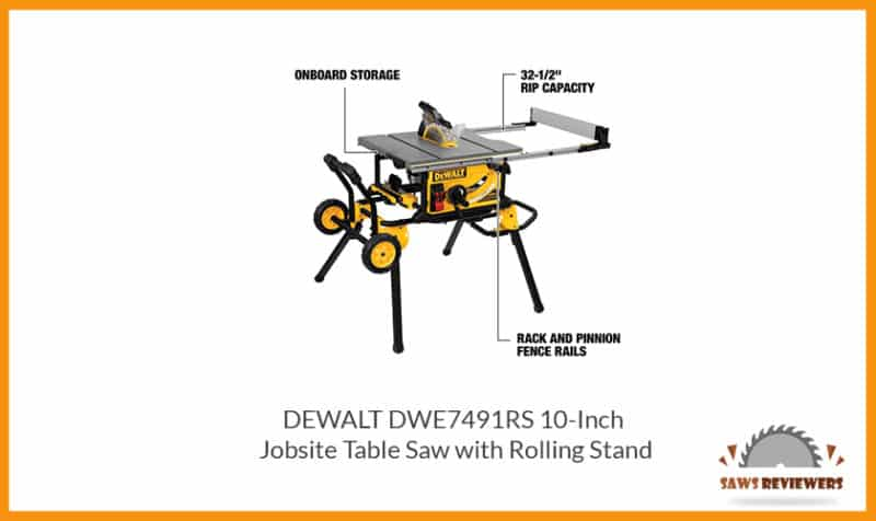 Dewalt Dwe7491rs Table Saw With Rolling Stand Saws Reviewers